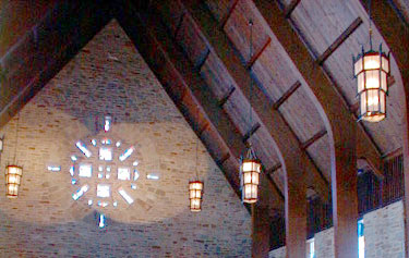 Roof, lighting, main stained glass window